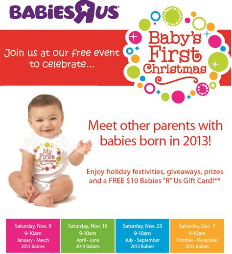 Where To Get Babies R Us Gift Cards - free event baby s first christmas at babies r us get a free 10 gift card