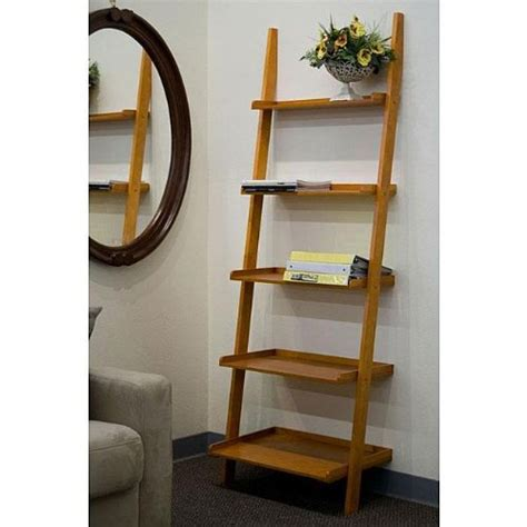 book ladder shelves oak 5 tier leaning ladder book shelf 50 00