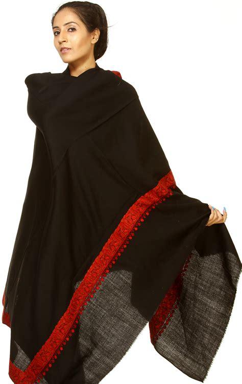 Pashmina Bordir Pashmina 1 black plain kashmiri shawl with embroidered paisley border