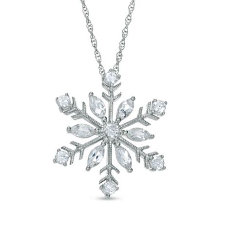 Sterling Silver Snowflake Pendant lab created white sapphire snowflake pendant in sterling