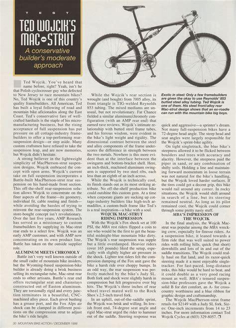 Post Mba Review by Ted Wojcik Mac Strut Review Mba Dec 1996 Retrobike