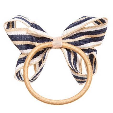 Striped Elastic Hair Band Blue ribbons navy blue beige white striped ribbon