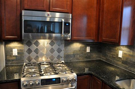 corrugated metal backsplash dream home pinterest cherry cabinets and ubatuba granite countertops with