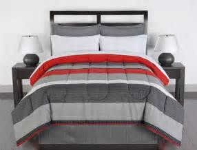 red gray white striped 8 piece queen size comforter