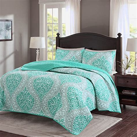 Comfort Spaces Kashmir Comforter Set Comfort Spaces Coco Mini Quilt Set 3 Teal And Grey Printed Damask Pattern