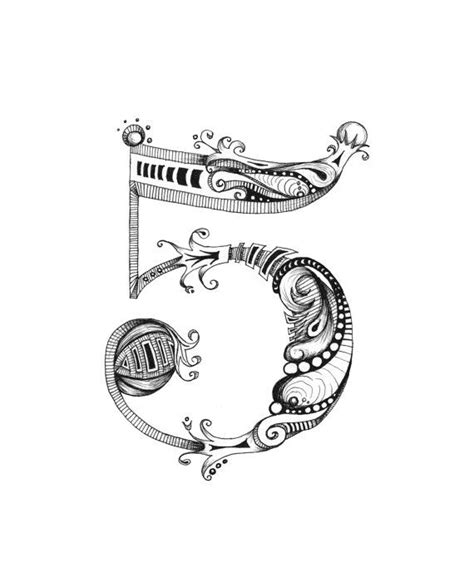 tattoo number maker knave 5 print lucky number series hand lettering