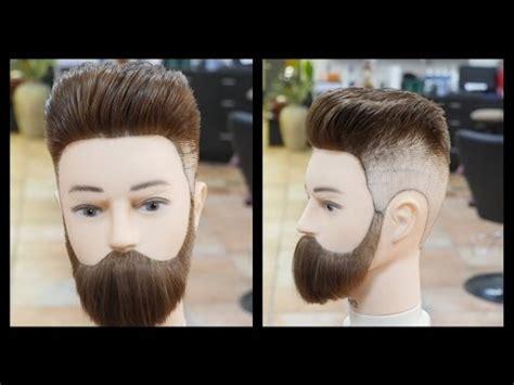 haircut beard youtube pompadour fade beard trim thesalonguy youtube