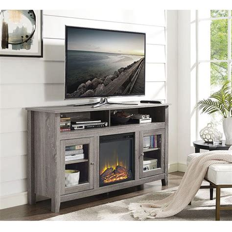 electric fireplace tv stand home depot walker edison furniture company driftwood entertainment