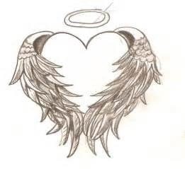 Angel wings heart tattoo design