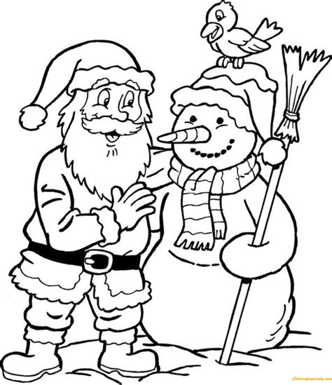 minecraft santa coloring page snowman and santa claus coloring page free coloring