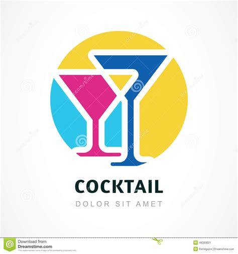 cocktail logo abstract logo design template colorful cocktail circle