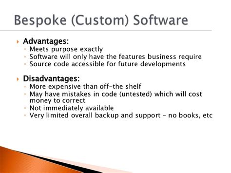Advantages And Disadvantages Of The Shelf Software by 1 7 Selection And Use Of Appropriate Software