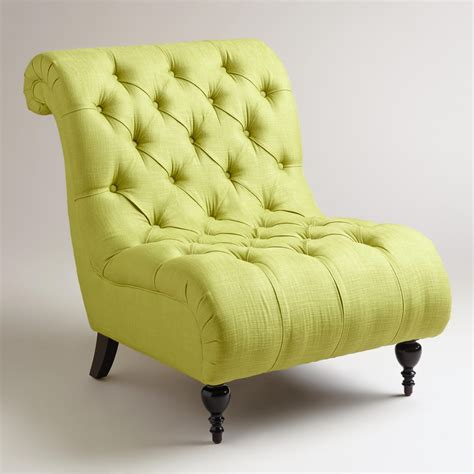green tufted slipper chair world from cost plus world