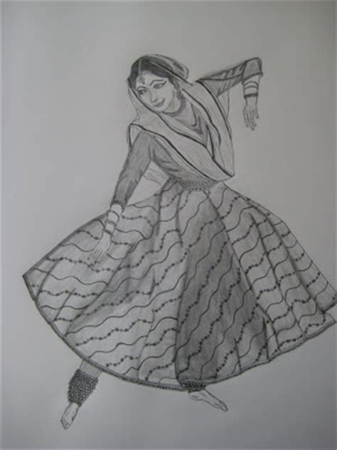 pencil sketches  paintings kathak dancer