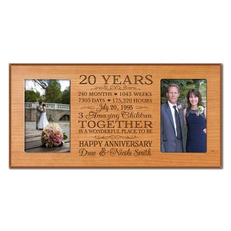 20th Wedding Anniversary Gifts by Personalized 20th Anniversary Gift For Him 20 Year Wedding
