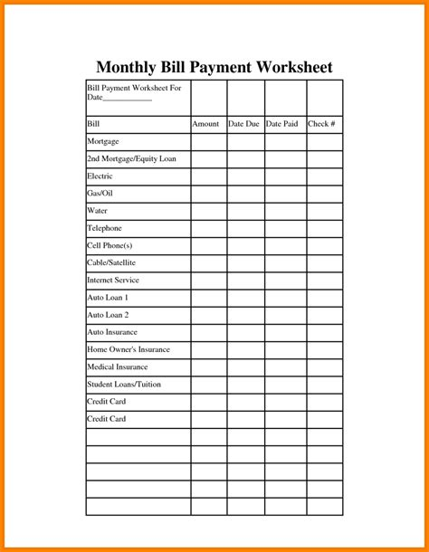 Remarkable Monthly Bill Organizer And Payment Schedule Template Vatansun Free Bill Payment Checklist Template