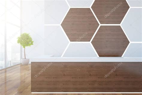Wooden Reception Desk With Honeycomb Pattern On Wall