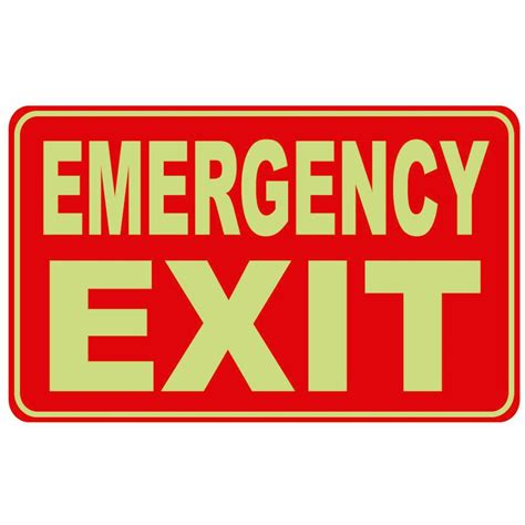 Lu Emergency Exit 12 in x 8 in glow in the rectangular plastic emergency exit sign pse 0028 oopes