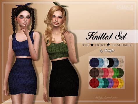 Set Top Skirt 4 trillyke knitted set top skirt headband sims 4