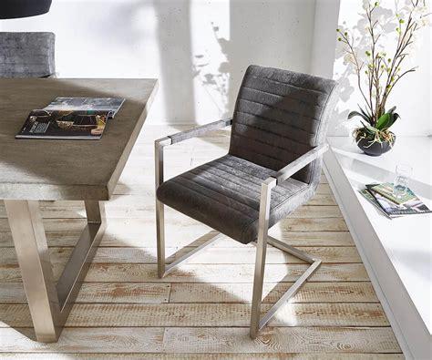 k 252 chenstuhl earnest grau vintage gestell edelstahl - Küchenstuhl Retro