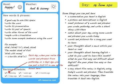 vocabulary journal template vocabulary diaries for language learners eltresource