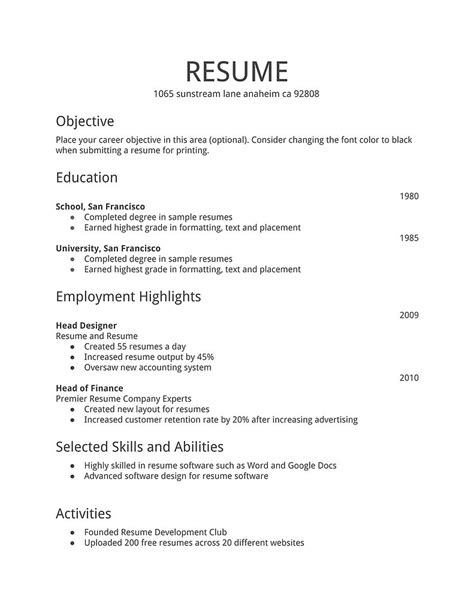 12 Simple Resume Format   RecentResumes.com