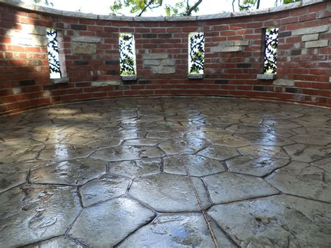 Backyard Guest Room Stamped Concrete Patio For Extreme Pleasure Amaza Design