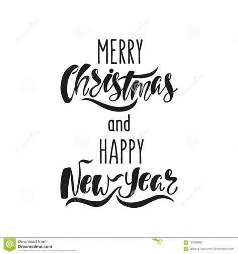 merry christmas  happy  year hand drawn calligraphy text holiday typography design