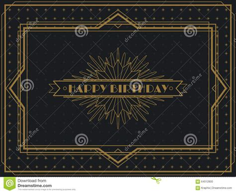 deco greeting cards templates vintage deco birthday card frame design stock vector