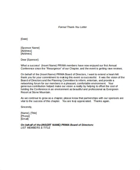 Official Letter Of Thanks Formal Letter Format 11 Free Word Pdf Documents