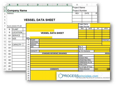 process specification template vessel data sheet excel and pdf form