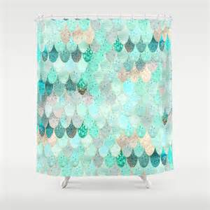 Kids Bathroom Shower Curtain - summer mermaid shower curtain