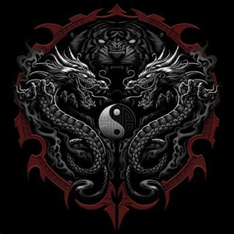 yin yang dragon tattoo designs dickies black work shirt custom design tiger