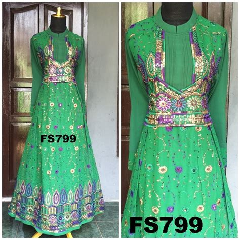 Dress Gamis Sari Fs 799 koleksi gaun gaun india gaun pesta muslimah sari india