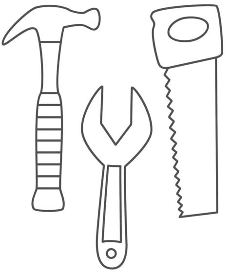 Hammer Saw And Wrench Coloring Pages Use To Make Belt Of Coloring Page
