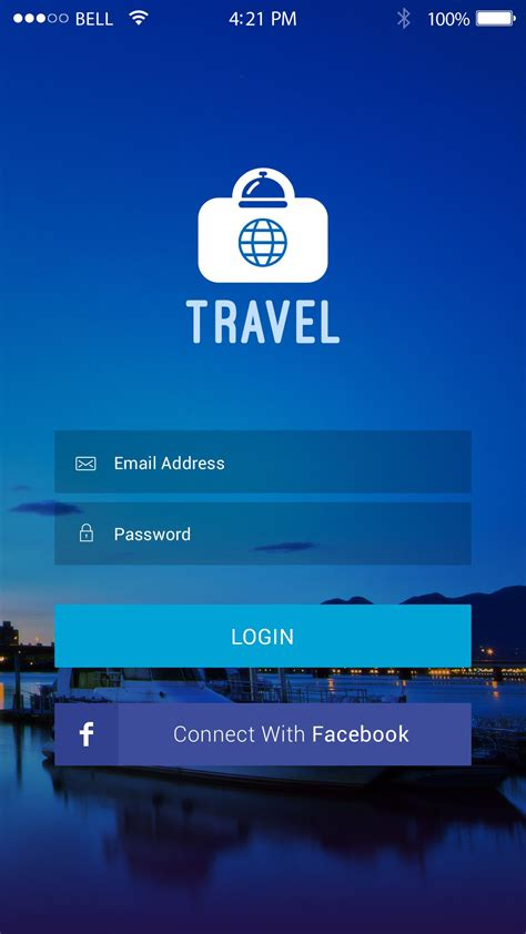 login screen designs travel app design mockup app