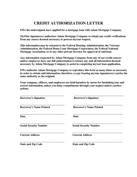 credit card authorization letter for credit card authorization letter format best template