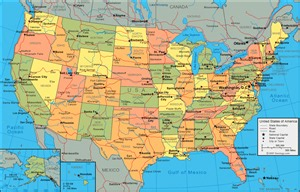 Physical map of the united states united states of america political