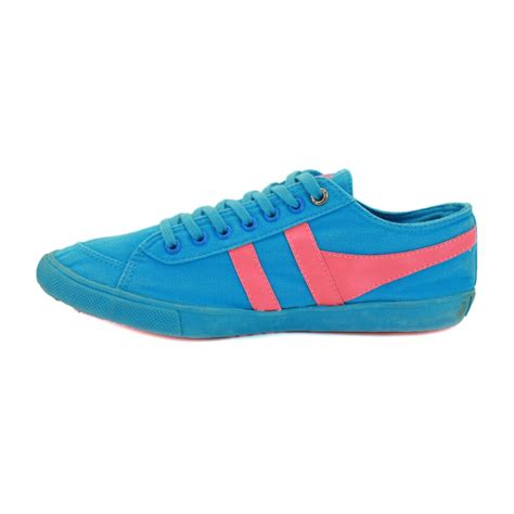 gola quota neon womens laced canvas trainers blue pink