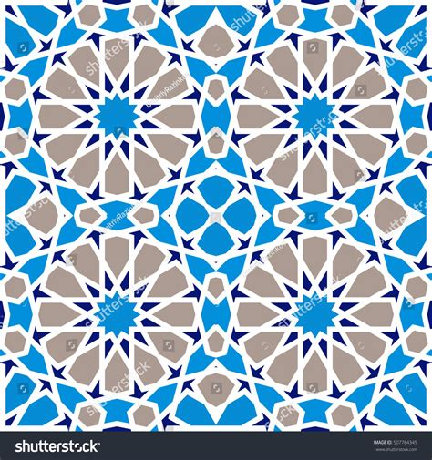 islamic round pattern vector blue islamic pattern seamless background vector stock