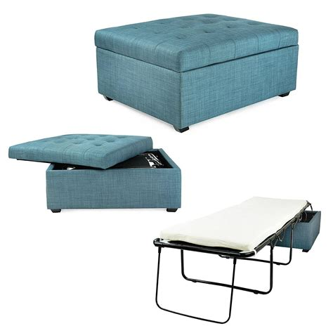 fold up bed into ottoman amazon com ibed convertible ottoman guest bed in blue