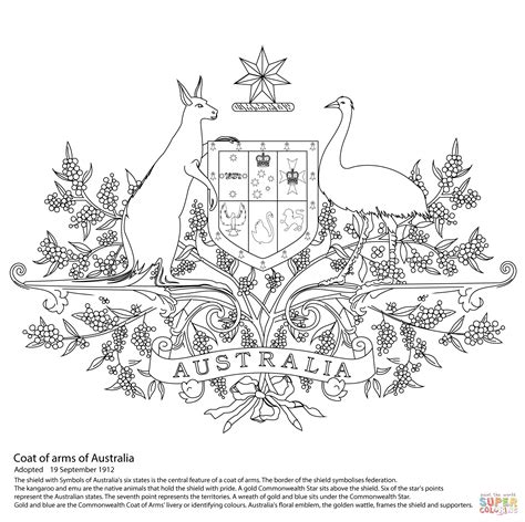 australian coat of arms coloring page free printable