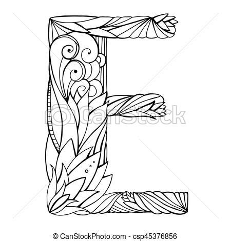 black and white pattern letter black and white freehand drawing capital letter e with