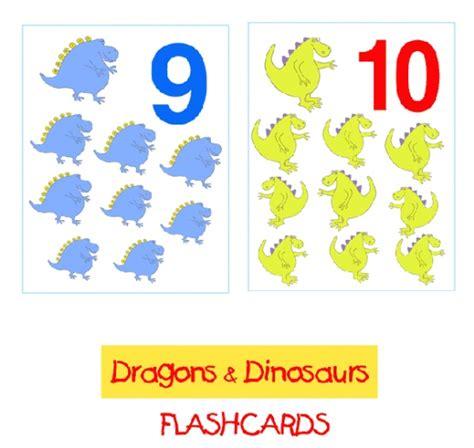 free printable dinosaur number cards dragons dinosaurs flashcards 1 10 preschool dinosaur