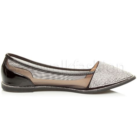 flat pointed toe shoes womens flat pointed toe diamante trim mesh