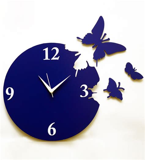 Home Decor Supplies by Panache Butterfly Wall Clock Blue By Panache Online