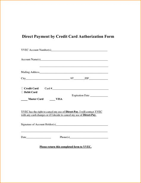 Authorization Letter Payment 6 Hotel Credit Card Authorization Form Authorization Letter Credit Card Authorization Form
