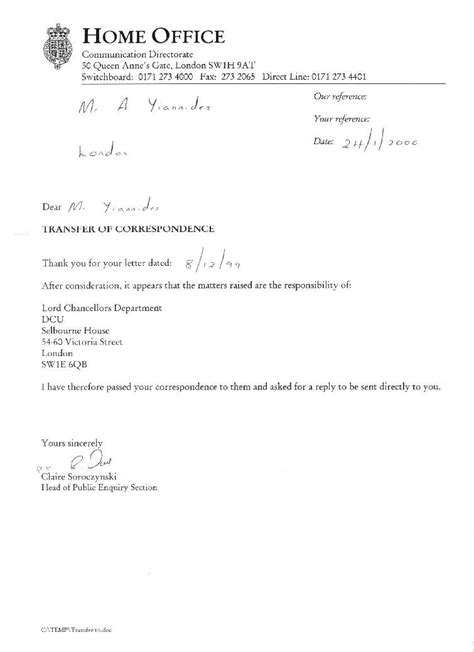 Standard Acknowledgement Letter Home Office Home Office
