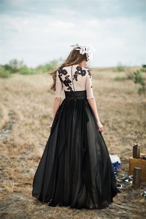 White Black Wedding Dresses by 30 Of The Most Stunning Black Wedding Dresses Chic