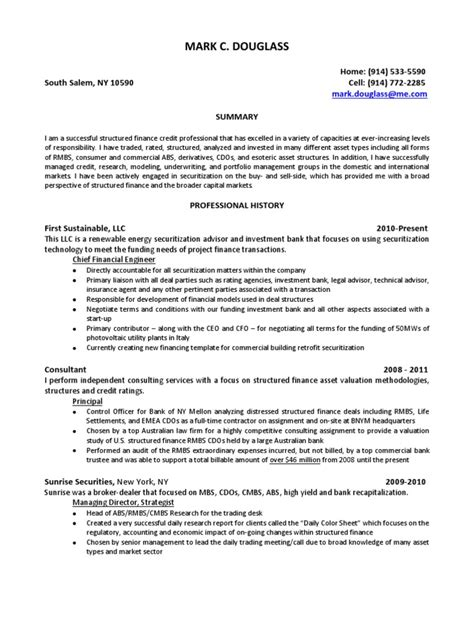 Sle Resume For Credit Analyst by Structured Finance Resume Sle 28 Images Sle Finance Resume 28 Images Real Estate Investment